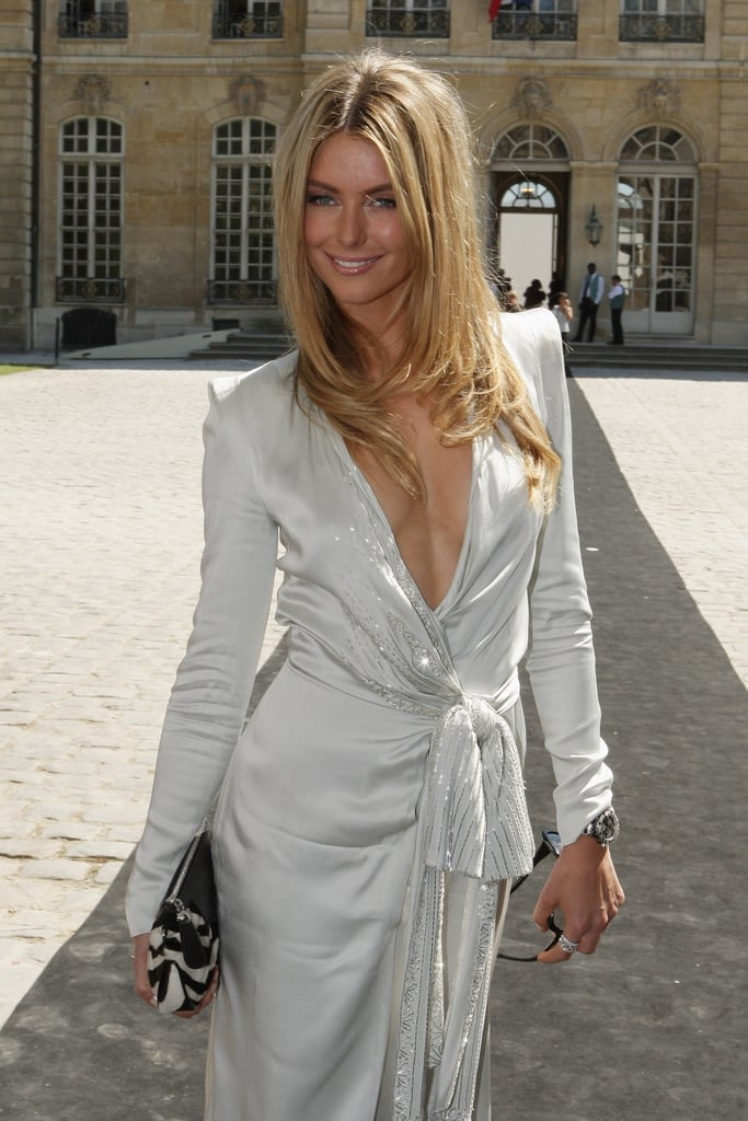Jennifer wore a plunging Dior gown to watch the label's haute couture show in Paris in June 2008.