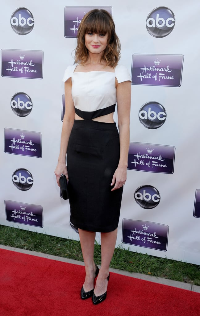Alexis Bledel wore a white and black frock.