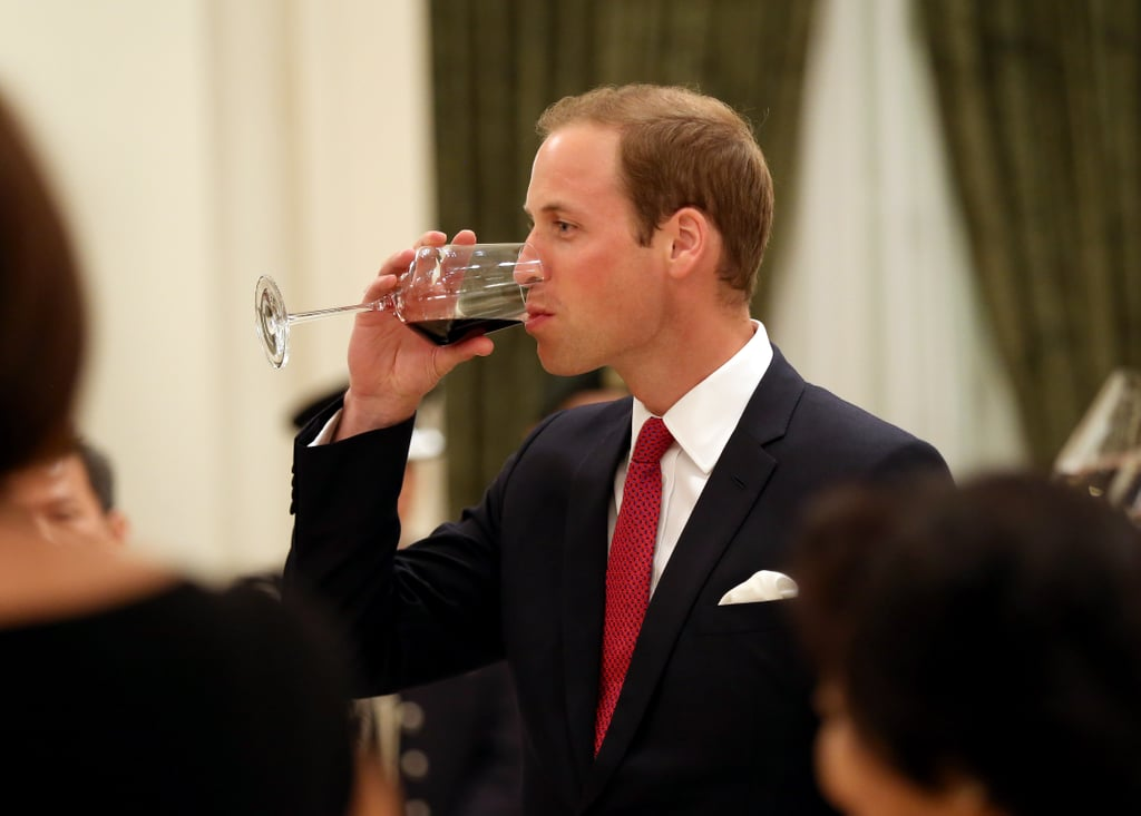 Prince William sipped his wine.