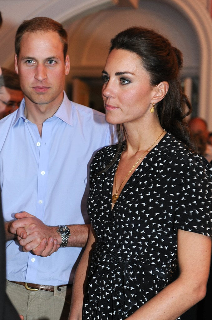 A close-up of the cute bird-printed Issa dress Kate wore.