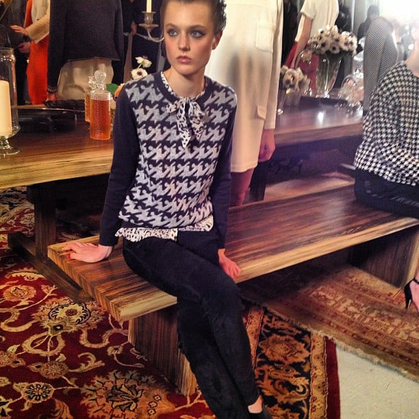 Seated in cool prints at Joie.