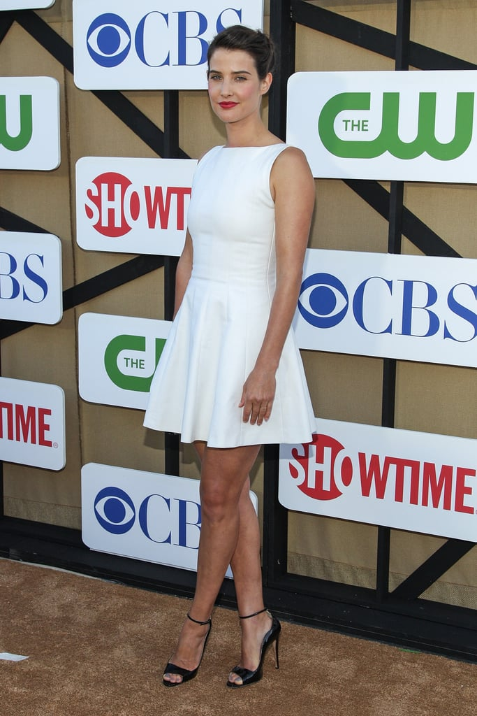 Cobie Smulders was perfectly summery in a ladylike white mini and a pair of ankle-strap heels at a TCA Party in Los Angeles.