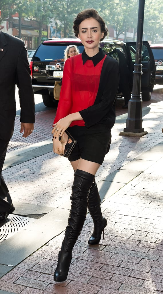 One part schoolgirl, thanks to her collared blouse, one part vixen, thanks to those seriously sexy over-the-knee boots, while in Philly promoting her film.