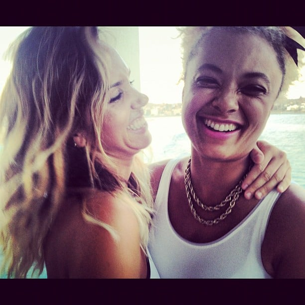 Stylist Pip Edwards hung on tight to her good friend, Sneaky Sound System's Connie Mitchell. Loving those big smiles and Connie's cool necklace! Source: Instagram user pip_edwards1