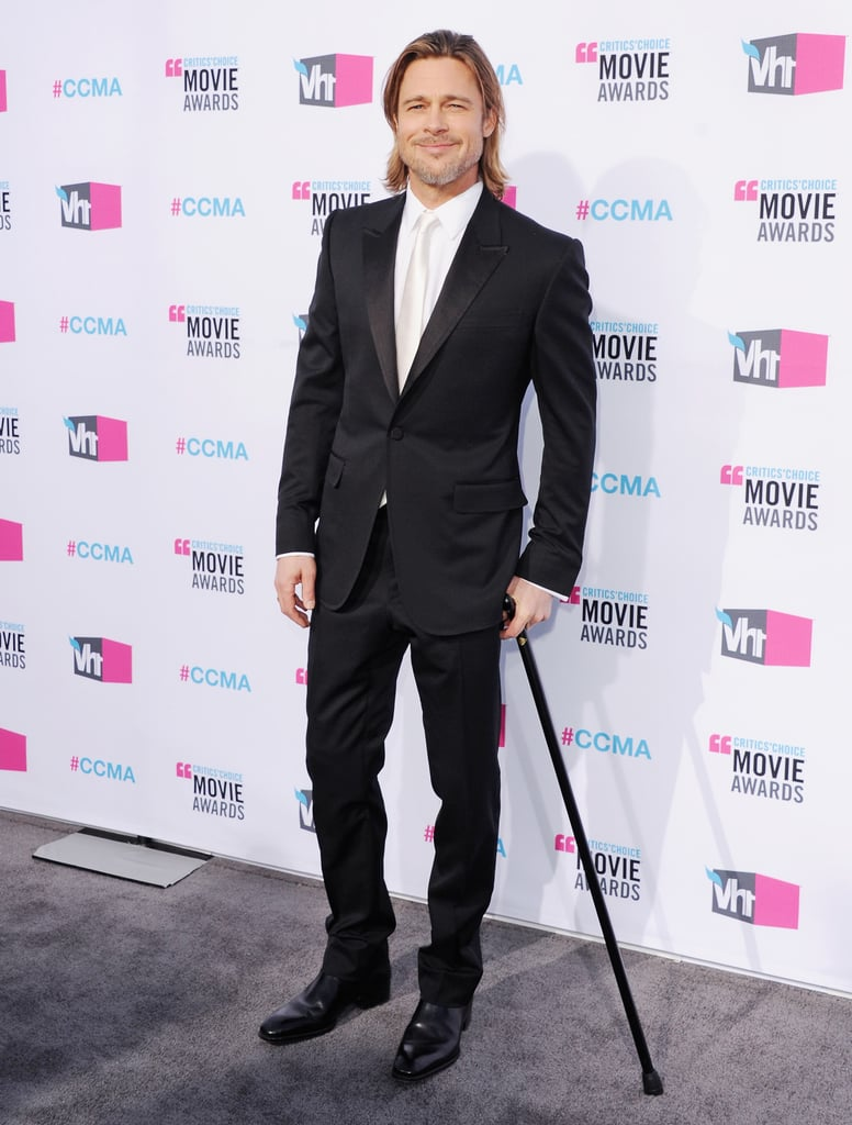 Brad Pitt sported a cane in 2012.