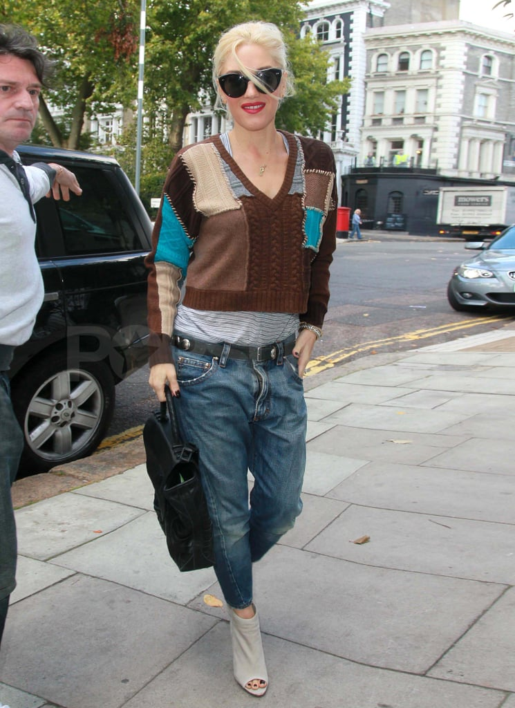 Gwen Stefani getting a manicure and pedicure in London.