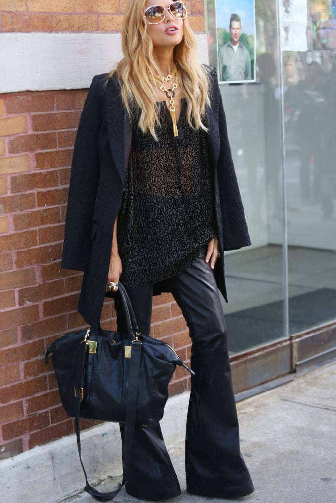 Rachel Zoe worked leather pants in an edgy flared silhouette.