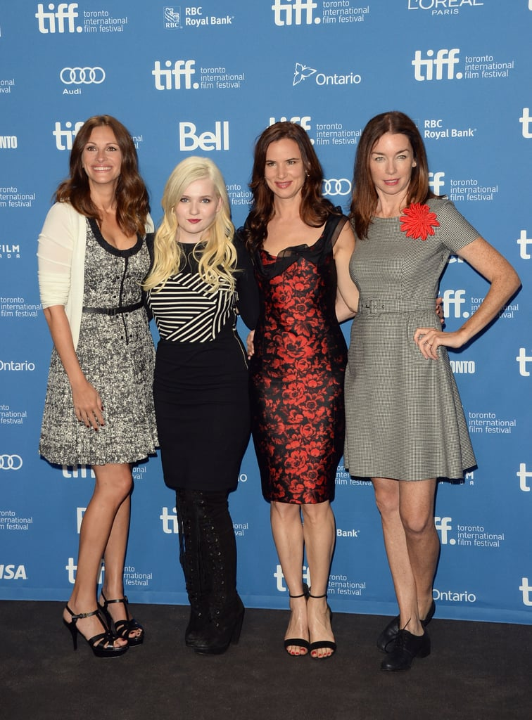 Julia Roberts, Abigail Breslin, Juliette Lewis, and Julianne Nicholson linked up at the press conference for August: Osage County.
