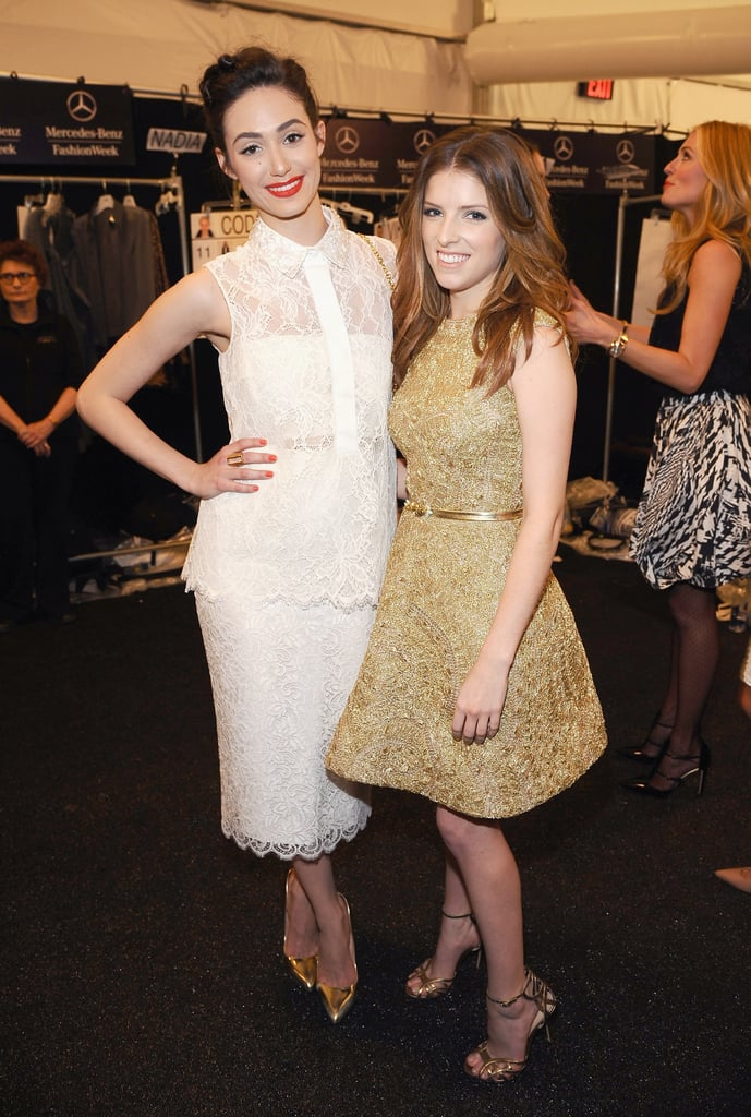 Emmy Rossum and Anna Kendrick struck a pose at New York Fashion Week.