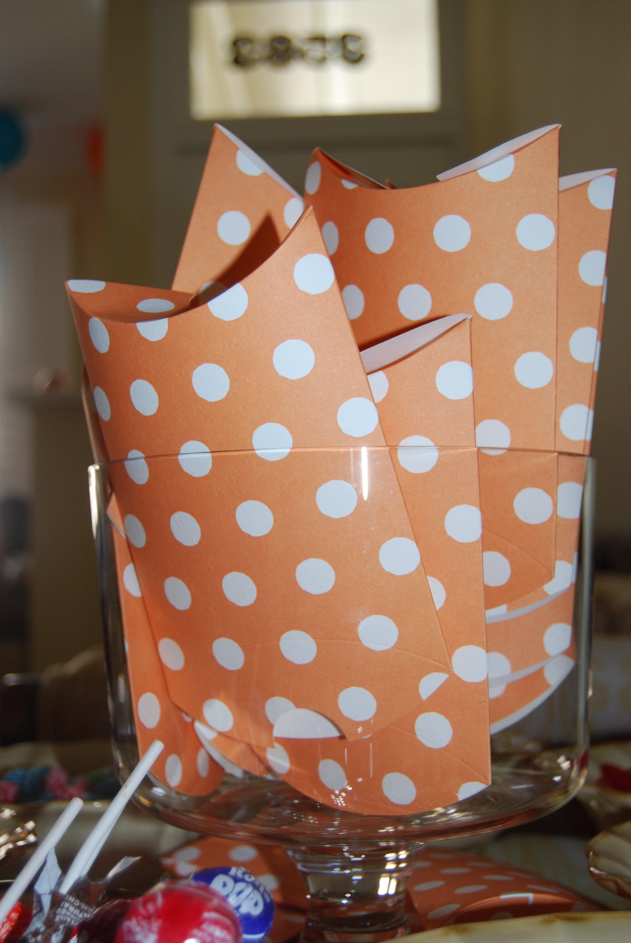 Orange polka dot pillow boxes