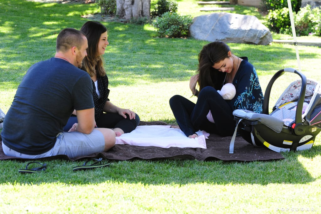 Selena Gomez gave her baby sister a smile during a picnic in LA.