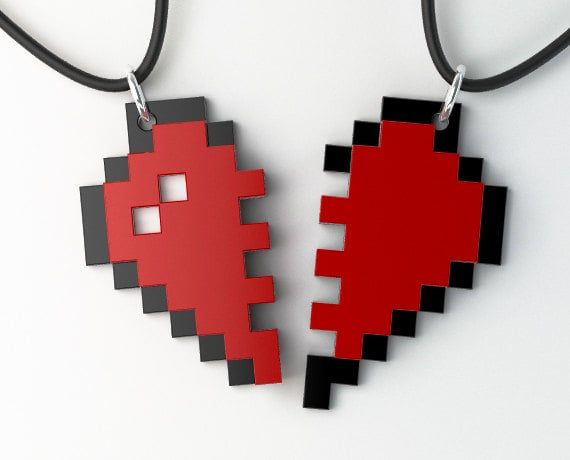Show off your unbreakable bond just like you did in grade school with this fun pixel heart friendship key chain ($16) set.