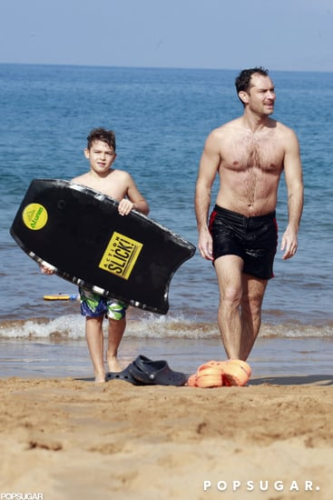 Jude Law caught some waves with Rudy Law.