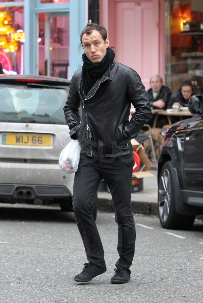 Jude Strolls London in Leather as He Reportedly Eyes a Role Opposite Keira