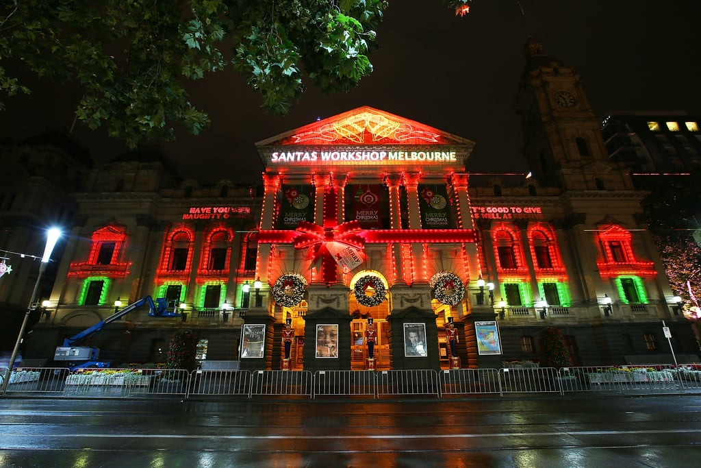 Christmas-themed images were projected onto Melbourne Town Hall in Australia.