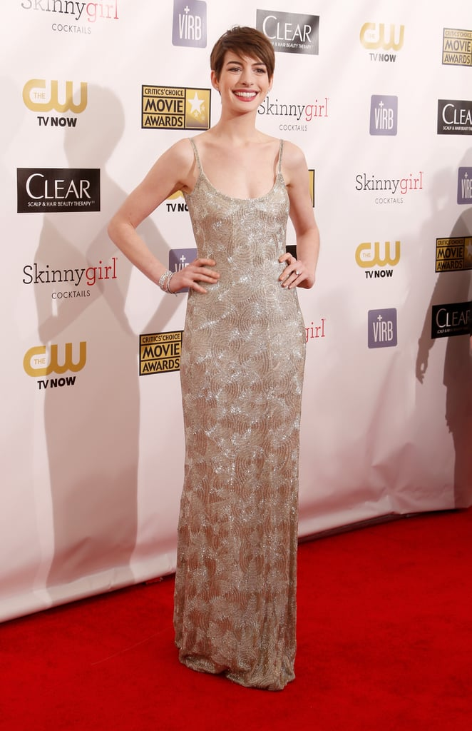 Anne Hathaway Sparkles in a Sexy Gown at Critics' Choice