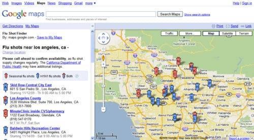 Find Out Where to Get the H1N1 Vaccine Using Google Maps