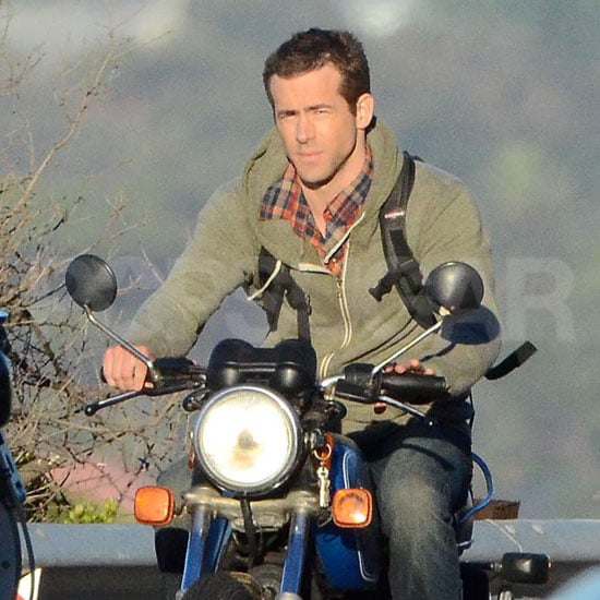 Sexy Ryan Reynolds Holds On Tight to His Motorcycle in South Africa