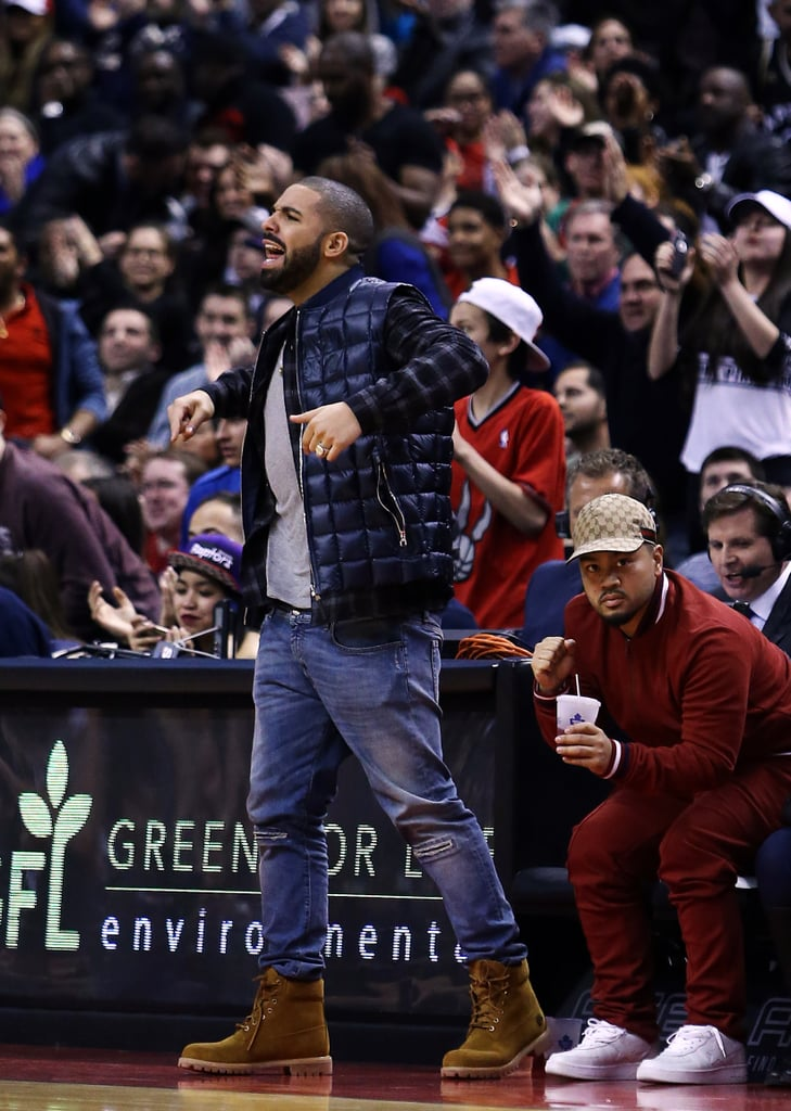 Drake couldn't stay in his damn seat while watching his beloved Toronto Raptors play the Houston Rockets in March 2016.