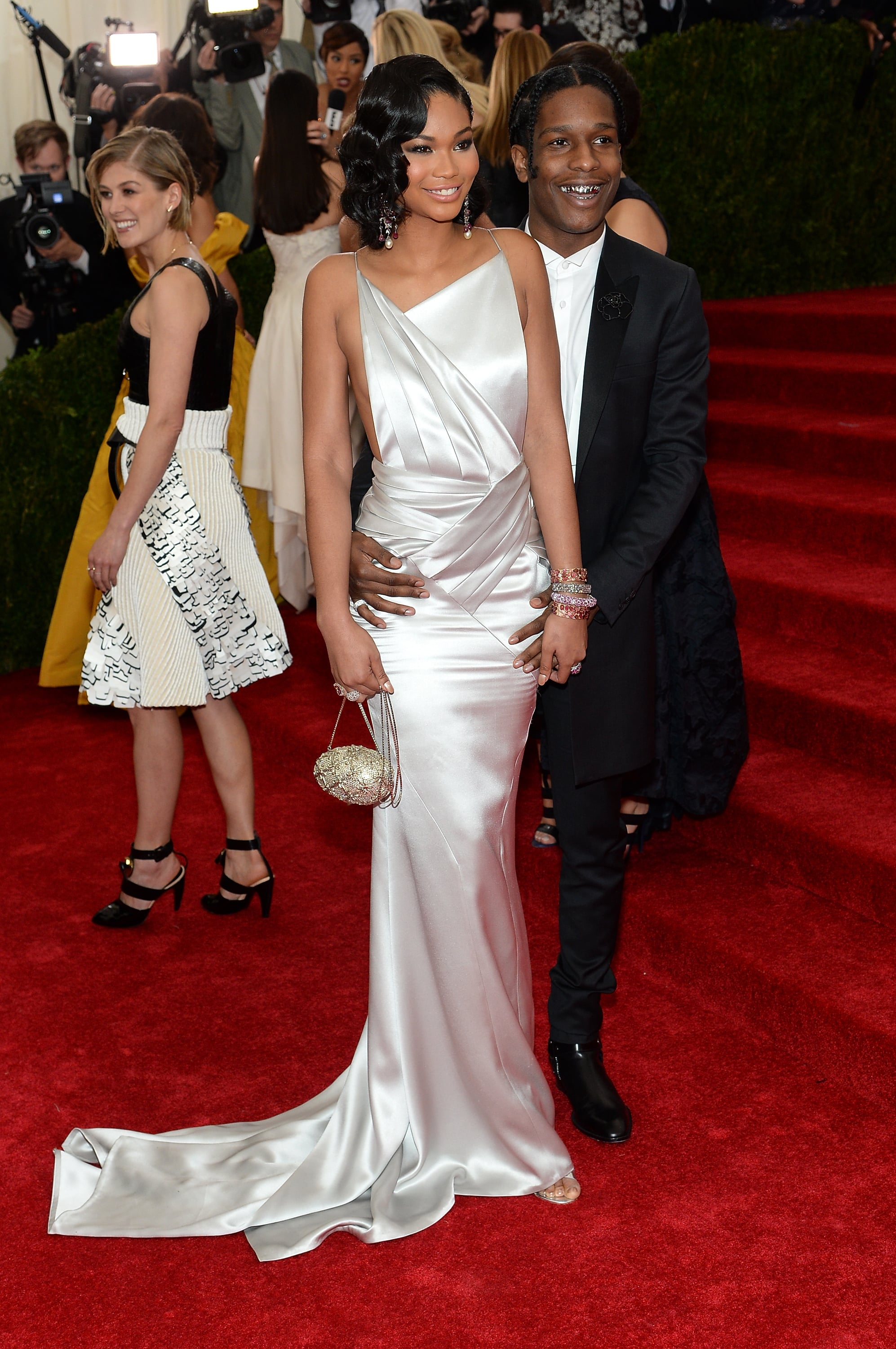 A$AP Rocky kept his hands on his girlfriend, Chanel Iman.