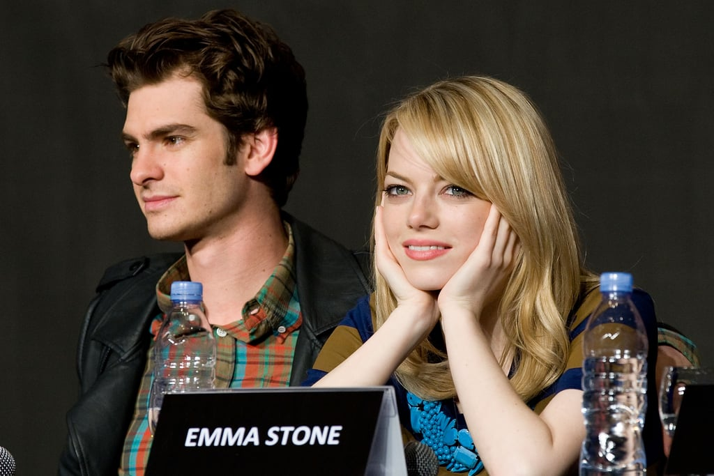 Emma Stone and Andrew Garfield sat next to each other at a press conference for The Amazing Spider-Man in Seoul.