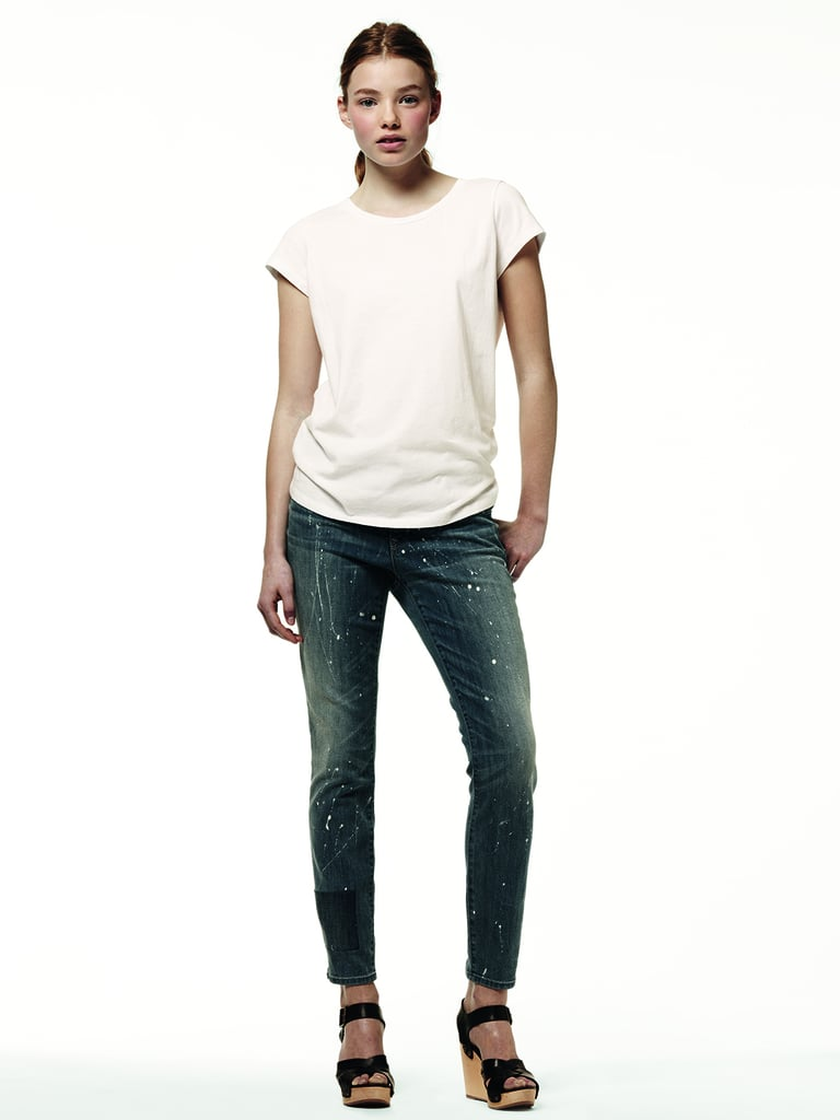 Mix up your usual denim and tee look with a pair of distressed jeans.