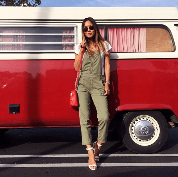We dig the laid-back vibe of overalls juxtaposed with a sleek pair of ankle-straps. There's no cooler combo for a casual night out with friends.  Source: Instagram user songofstyle