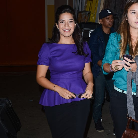 America Ferrera Wearing Purple Peplum Top
