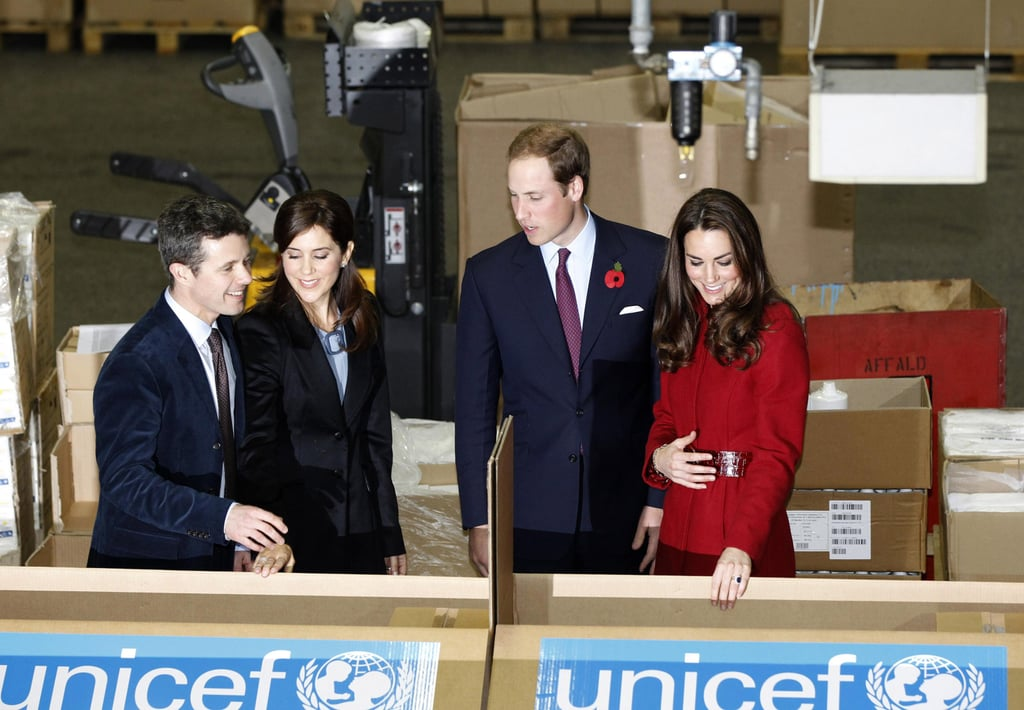 Princess Mary, Kate Middleton, Prince William, and Prince Frederik paid a visit to the UNICEF Emergency Supply Centre in Copenhagen, Denmark.