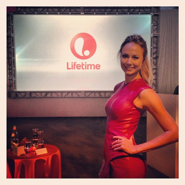Stacy Keibler wore a bright leather dress for the Lifetime TV upfronts. Source: Instagram user stacykeibler