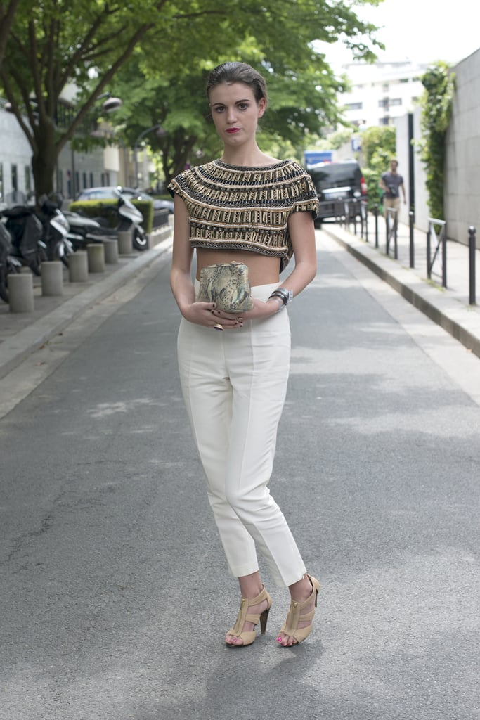 Tailored trousers are fashion friendly and far from corporate when paired with a navel-flashing crop top.