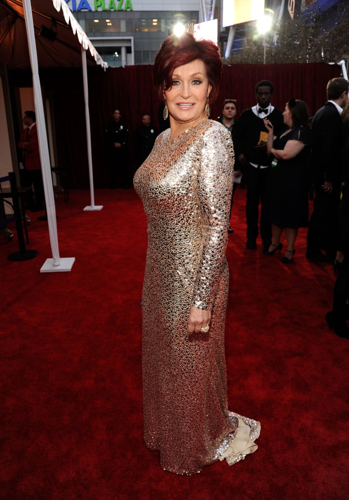 Sharon Osbourne in a sequinned gown.