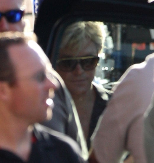 Matt Damon wore retro sunglasses and a blond wig on set in LA.