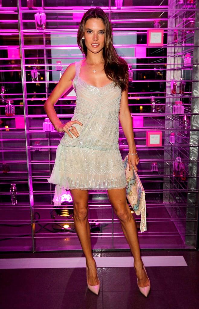Alessandra Ambrosio partied at the Victoria's Secret celebration in LA.