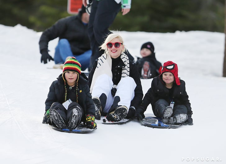 Gwen Stefani wore a striped scarf to go sledding with her sons Kingston Rossdale and Zuma Rossdale.