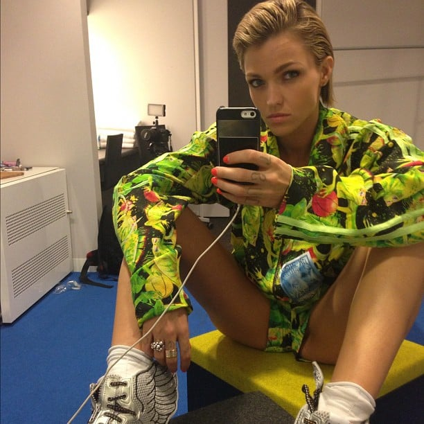 Ruby Rose wore a colourful ensemble while passing time backstage. Source: Instagram user rubyrose86