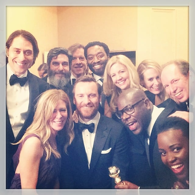 The 12 Years a Slave cast posed for pictures after winning the Golden Globe for best drama. Source: Instagram user goldenglobes