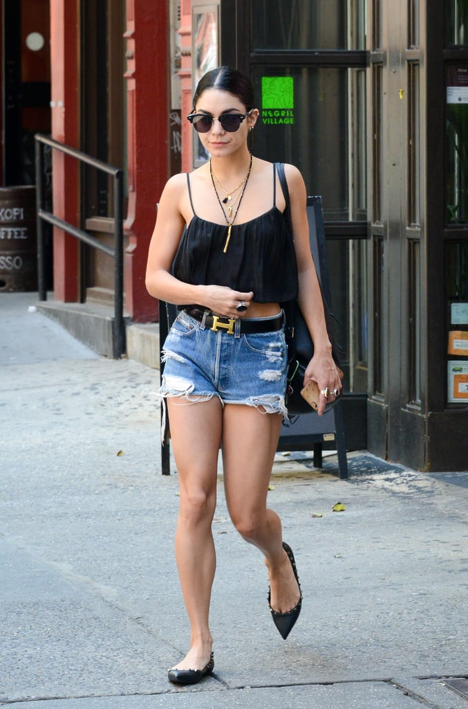 Vanessa Hudgens gave her distressed denim polish with an Hermes belt and pointed-toe flats.