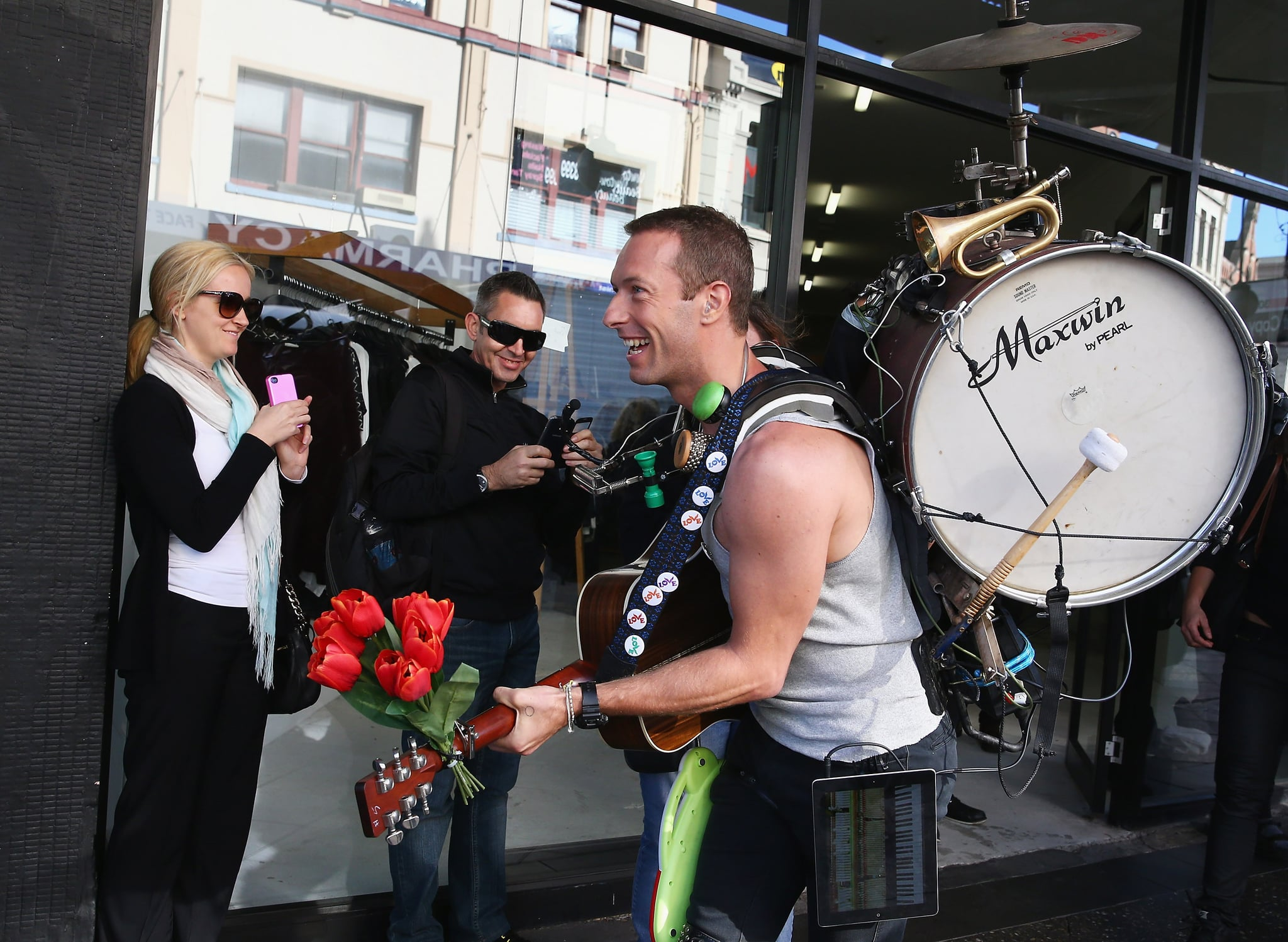 Chris Martin jammed out with a drum on his back while filming a Coldplay music video in Sydney on Tuesday.