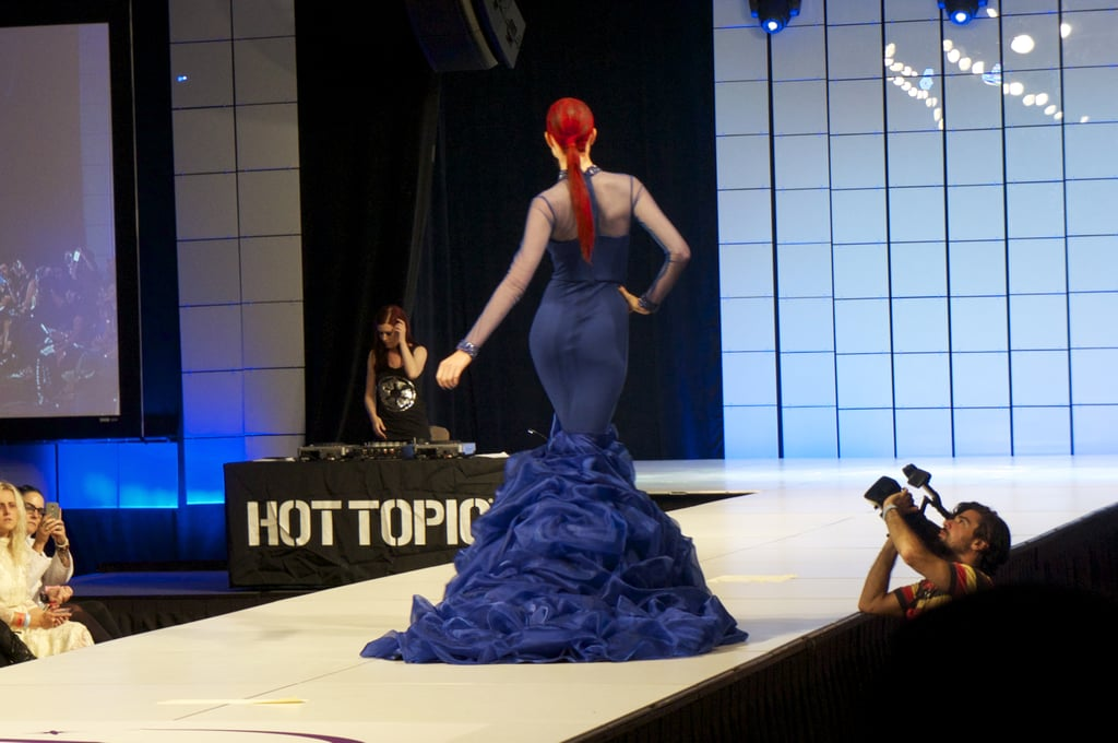 The sleek, red ponytail made this gown. Photo: Nicole Nguyen