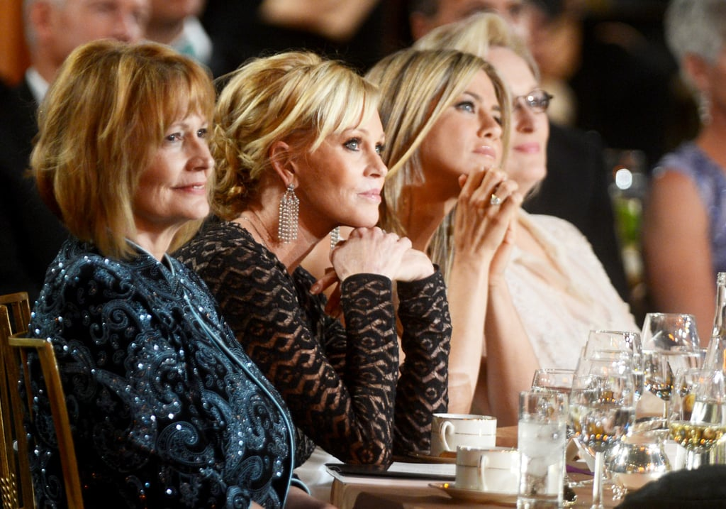 Jennifer Aniston, Melanie Griffith, and Meryl Streep sat together at the AFI Life Achievement Award dinner honouring Shirley MacLaine in LA.