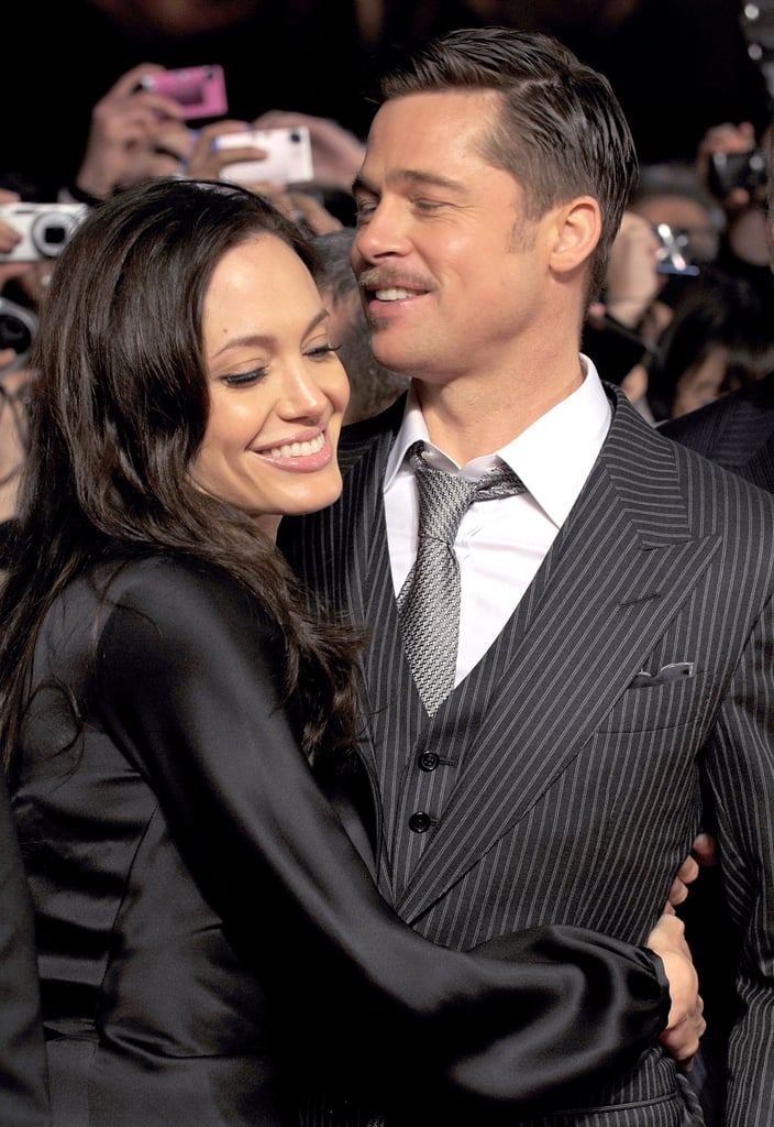 Angelina went in for a big hug at Brad's January 2009 screening of The Curious Case of Benjamin Button in Tokyo.