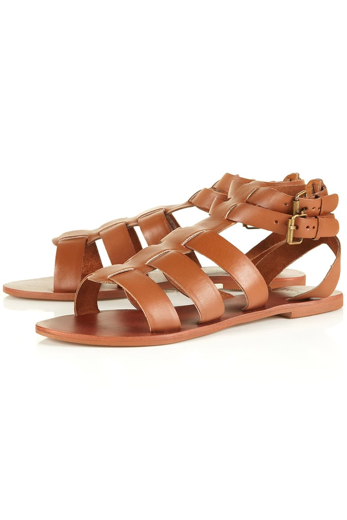 Stick with traditional gladiator sandals for a sturdy, wear-with-anything style.  Topshop Hike Leather Gladiator Sandals ($64)