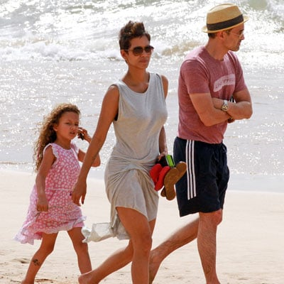 Halle Berry on the Beach With Olivier and Nahla
