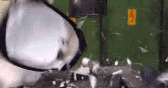 Hydraulic Press Squeezes The Life Out Of A Bowling Ball (And Other Stuff)