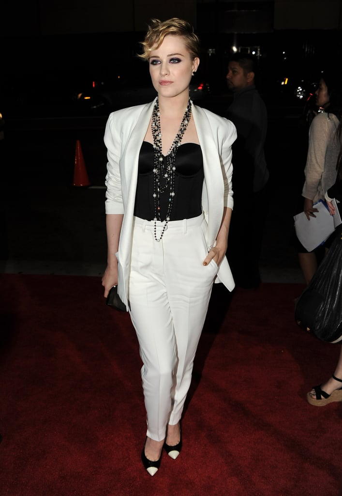 Evan Rachel Wood was solo on the The Ides of March red carpet.