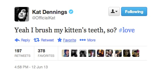 Looks like Kat Dennings is probably a cat lady and she's not even sorry about it.