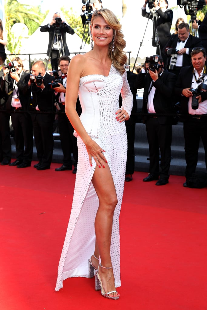 Heidi Klum wore Versace at the Cannes premiere of Nebraska.