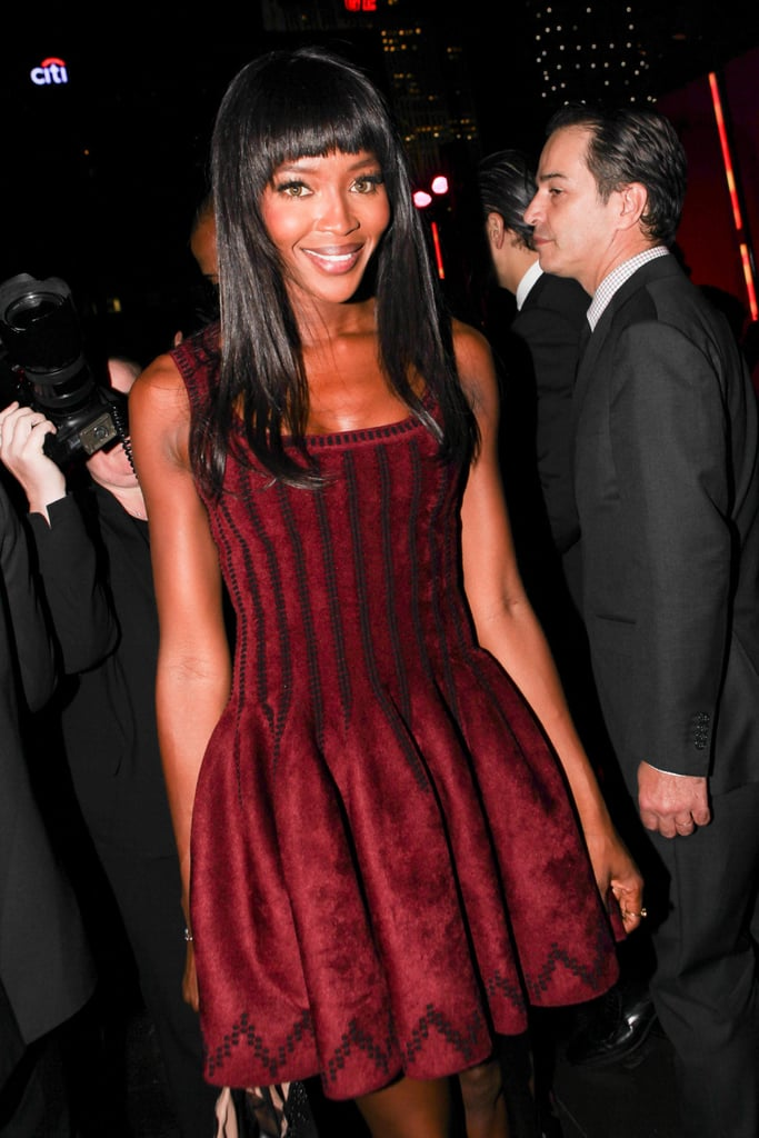 Naomi Campbell arrived for The Peninsula New York's anniversary bash in an autumnal burgundy design.