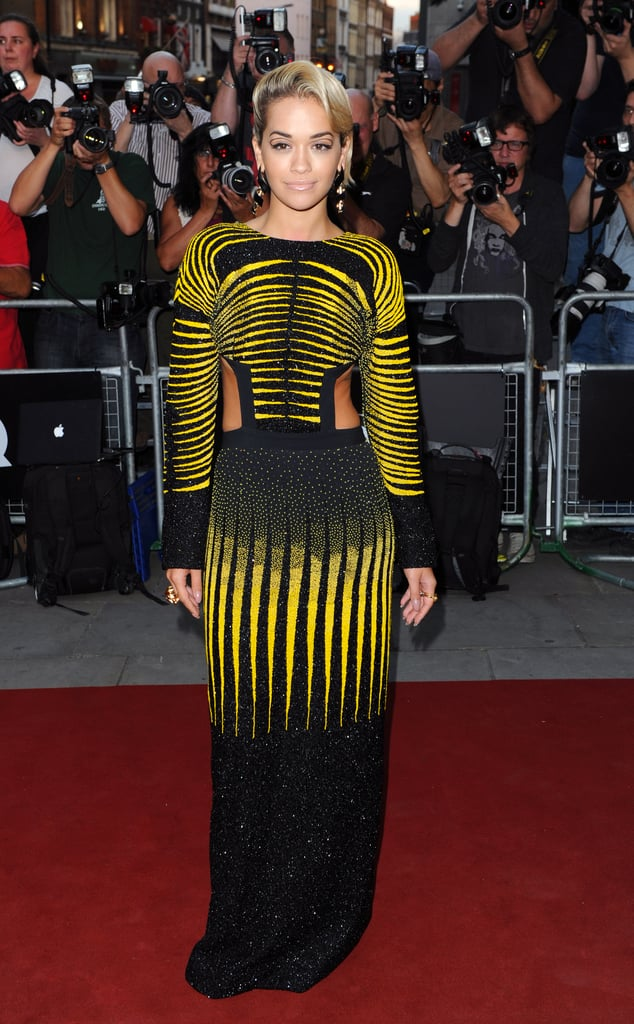 Rita Ora made an entrance in her cutout, contoured design at GQ's London event.